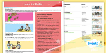 PlanIt Religion Year 5 Jesus the Healer Planning Overview - Jesus the Healer, miracles, servant, bethesda, paralysed man, Bible, miracle stories, songwriting, m