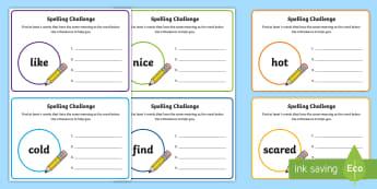 Alternative Spelling Challenge Cards - spellings, spelling cards
