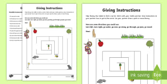 Giving Instructions: Help Bunny! Activity Sheet - NI KS1 Numeracy, prepositions, practical maths, maze, instructions, play, spring, Easter, animals, c