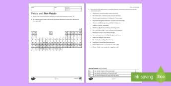 KS3 Metals and Non-Metals Homework Activity Sheet - Homework, metal, non-metal, non metal, metals, properties, periodic table, materials, conductivity,
