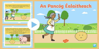 OI The Runaway Pancake as Gaeilge PowerPoint - Pancake Tuesday, Lent, Pancakes, Máirt na hInide, The Runaway Pancake, An Pancóg Éalaitheach, Iri
