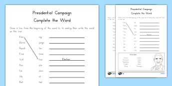 Presidential Campaign Complete the Word Activity Sheet, worksheet