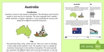 Australia Information Report Writing Sample - Literacy, Australia Information Report  Writing Sample, writing sample, english, australian curricul