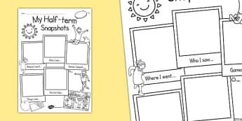 Half-Term Snapshots Writing Frame - half tern, snapshots, writing