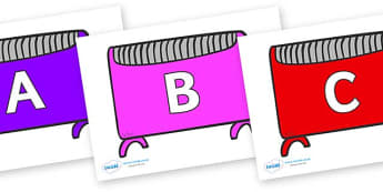 A-Z Alphabet on Heaters - A-Z, A4, display, Alphabet frieze, Display letters, Letter posters, A-Z letters, Alphabet flashcards
