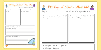 100 Days of School About Me Activity Sheet, worksheet