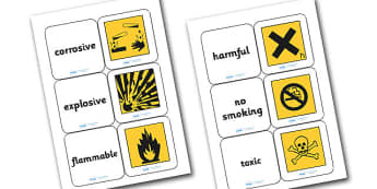 Warning Symbols Matching Cards - warning symbols matching game, warning symbols, what warning symbols mean, science game, science activity, ks2 science