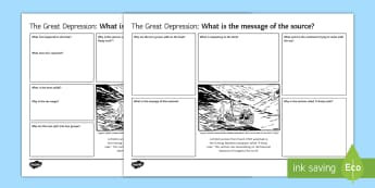 Great Depression 'Great Leak' Source Analysis Differentiated Activity Sheets - GCSE, source analysis, great depression, wall st crash, financial crisis, recession, economies
