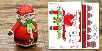 3D Balancing Santa Paper Model - 3d, balancing, santa, paper, model, craft, winter, christmas