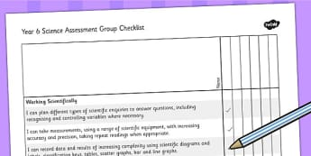 2014 Curriculum Year 6 Science Assessment Group Checklist - target
