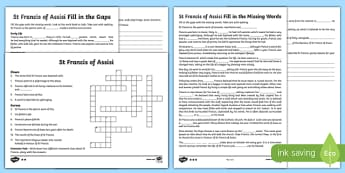 St Francis of Assisi Differentiated Activity Sheet Pack, worksheet