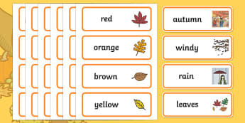 Autumn Topic Word Cards - Word card, flashcard, flashcards, harvest, harvest festival, fruit, apple, pear, orange, wheat, bread, grain, leaves, conker