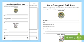 Cork County and GAA Crest Activity Sheet - Worksheet, GAA Football All-Ireland Senior Championship, Hurling, coat of arms, Cork
