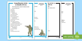 Compréhension écrite : La bataille d'Arras - Histoire, history, Arras, bataille, battle, Cycle 3, Première Guerre Mondiale, First World War, Fra