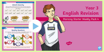 Year 3 English Revision Morning Starter Weekly PowerPoint Pack 4 - Assessment, review, track, literacy, reading, writing, spag, gps