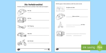 Transport and Travel Activity Sheet German - Transport, Travel, German, languages, MFL, Germany, Deutschland, Verkehrsmittel, DAF, DAZ, worksheet