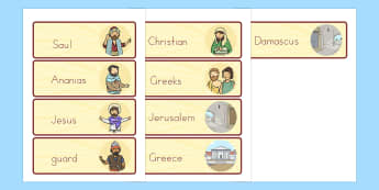 The Conversion of Saul Word Cards - usa, america, visual, aids, literacy, words, bible stories, conversion, saul