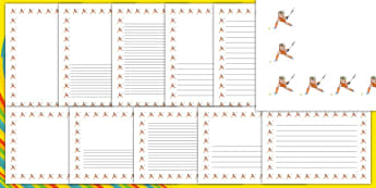 The Olympics Hockey Page Borders - Hockey, Olympics, Olympic Games, sports, Olympic, London, 2012, page border, border, writing template, writing aid, writing, activity, Olympic torch, events, flag, countries, medal, Olympic Rings, mascots, flame, co