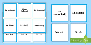 Irish Gaeilge Trying on Clothes Phrases Word Cards - Irish, Gaeilge, trying on clothes, éadaí, phrases, changing room, role play, language prompts, dis