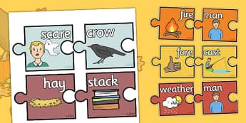 Autumn Compound Words Matching Activity - autumn, compound words, matching, activities, matching activity, word matching, matching games, autumn themed games
