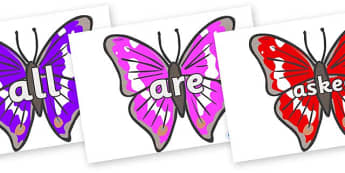 Tricky Words on Emperor Butterflies - Tricky words, DfES Letters and Sounds, Letters and sounds, display, words