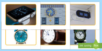 Clocks and Watches Display Photos - EYFS, Early Years, KS1, Maths, time, shape, space and measure, telling the time, clock, watch, hour,