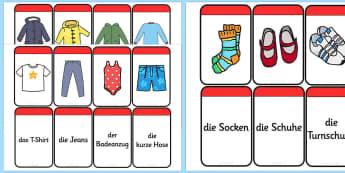 Clothing Matching Flashcards