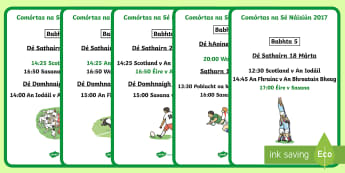 Six Nations Fixtures 2017 A4 Display Posters Gaeilge - six nations, fixtures, gaeilge, nations, rugby, roi