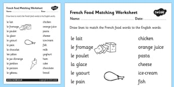 French Food Matching Words Worksheet - French, Food, Match, Words