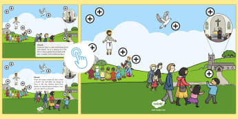KS1 Ascension Day Picture Hotspots - Ascension Day, Ascension, Ascend, 25.5.17, Easter, Easter Sunday, Good Friday, Dove, Disciples, Holy