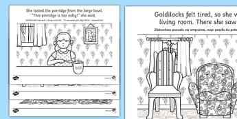 Goldilocks Story Colouring Sheets Polish/English