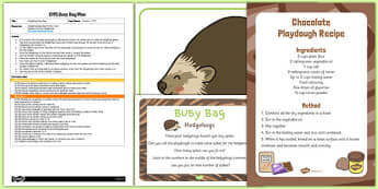 Hedgehog Busy Bag Plan - hedgehog, busy bag, plan, eyfs, early years, autumn