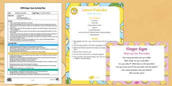 EYFS Sharing Out Pancakes Finger Gym Plan and Resource Pack - Mr Wolf's Pancakes, pancake day, Jan Fearnley, fine motor control, gross motor control, pancakes, m