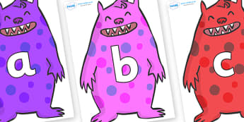 Phoneme Set on Monsters - Phoneme set, phonemes, phoneme, Letters and Sounds, DfES, display, Phase 1, Phase 2, Phase 3, Phase 5, Foundation, Literacy
