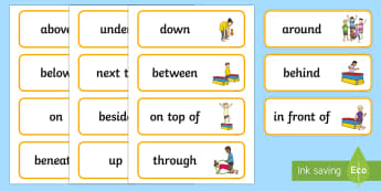 Gymanastic Themed Positional Language Word Cards - EYFS, Early Years planning, adult led, prepositions, prepostition, prepostions, prepostitions, eyfa