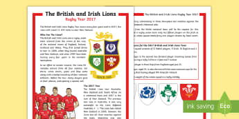 The British and Irish Lions Tour 2017 KS2 Differentiated Fact File - KS2 Lions Tour Rugby, rugby, lions, new zealand, sam warburton, rugby union, six nations, rugby worl