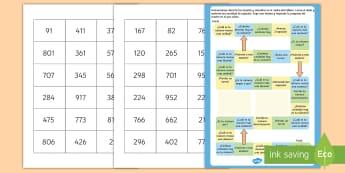 Juego de mesa: Valor posicional - juego de mesa, juego, matemáticas, mates, valor posicional, valor de las cifras, cifras, decenas, u