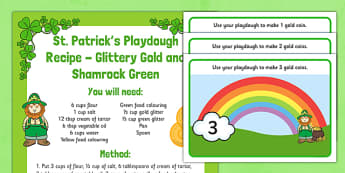 St Patrick's Day Playdough Recipe and Mat Pack - Fine motor skills, malleable, Ireland, shamrock, leprechaun