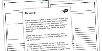 Who Were the Vikings Worksheet - vikings, ancient vikings, viking worksheet, who were the vikings, vikings newspaper article, viking newspaper, ks2 history