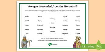 Norman Surnames Today Word Mat - ROI The Normans in Ireland, descendants, Ireland, history, SESE, surnames, medieval,Irish