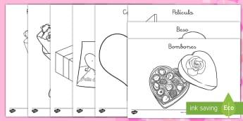 Hojas de colorear: Día de San Valentín - San Valentín, día de San Valentín, colorear hojas de colorear, corazón, abrazo, chocolatinas, en