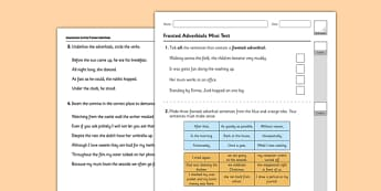 Fronted Adverbials Test - GPS, verb, adverb, adverbial, spelling, punctuation, grammar