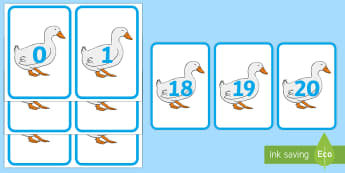 Numbers 0 to 20 on Ducks Number Cards - EYFS, Early Years, Maths, Numeracy, numbers, counting, sequencing, ducks, ponds, farm, park.