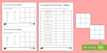 Converting Units of Measurement Bingo - mass, length, capacity, unit conversions, convert, kg, g, mm, m, cm, litres, l, ml, converting.
