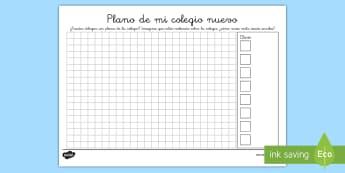 Ficha de actividad: Plano - Mi colegio nuevo - plano, mi colegio nuevo, cambio de colegio, vuelta al cole, ficha, mates, matemáticas,Spanish