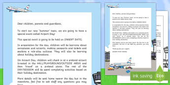 Editable Airport Day Letter - KS1, Key Stage 1, Summer, holiday, travel, aeroplane, topic, theme