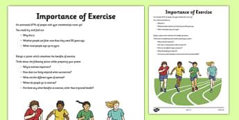 Importance of Exercise Activity Sheet - exercise, health, heart, importance, worksheet