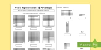 Year 5 Visual Representations of Percentages Differentiated Activity Sheets - Year 5, Y5, percentages, visual representations, out of 100