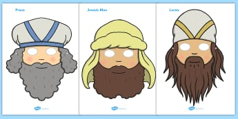 The Good Samaritan Story Role Play Masks - the good samaritan, samaritan, help, helping, jewish, thieves, bible story, Jesus, priest, Levite, kind, good samartian