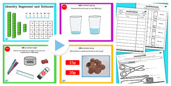 Year 2 Maths Estimating Measures Lesson Pack - pack, y2, maths